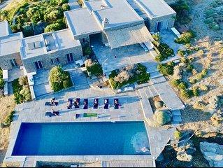 Villa d'architecte en pierre, 6 suites, piscine au sommet de la colline