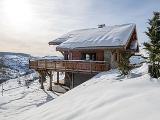 Le Paradis Blanc : Chalet de standing avec sauna et spa.  Vue imprenable...