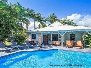 Villa créole avec vue mer et piscine privée entre Ste Rose et Deshaies