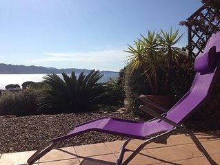 St Florent, bel appartement front de mer avec terrasse et jardin, plage à pied
