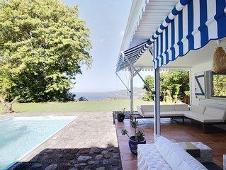 PROMO MAI : villa 3CH, vue mer, jardin, arbres fruitiers, piscine avec barrière