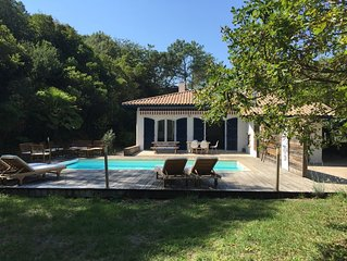 Hossegor, belle villa entre le lac et l'océan, 5 chambres, piscine chauffée
