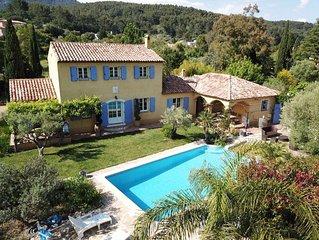 Villa côte d'azur pour 6 pers.proche Hyeres, pisc priv, prox. mer, calme absolu