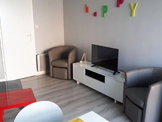 Appt moderne 4 pers. residence calme securisee - plage, port accessibles a pieds