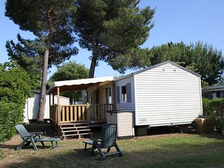 LOCATION MOBIL HOME 3 CHAMBRES 2 SdB CLIMATISE +TERRASSE COUVERTE