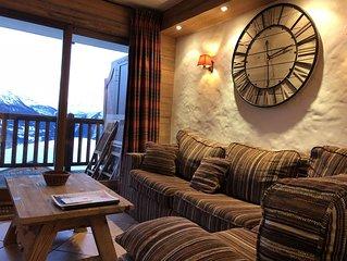 Luxueux appartement , ski aux pieds , grande térasse sud avec vue magnifique