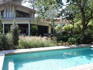 Villa d'architecte Arcachon , 210 m2, piscine chauffée, proche plage Pereire