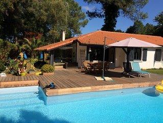 Maison à Hossegor avec piscine chauffée proche lac marin