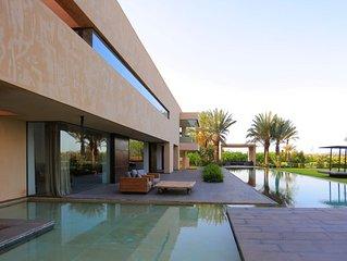 white stone luxury modern villa in marrakech