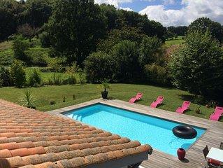 Grande villa d'architecte, à 5mn de Saint Jean de Luz, piscine chauffée...5 ch