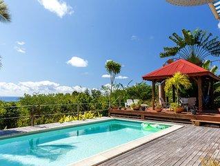 NOUVEAU   Villa 6/8 pers piscine  vue mer face Marie-Galante
