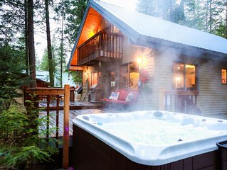 Riverview cabin, family & pet friendly,  hot tub,  sleeps 8-12!