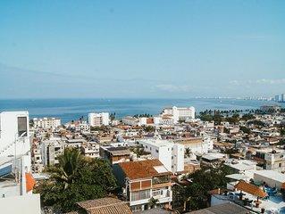 NEW. Soho Style Condo With Ocean Views in Downtown Puerto Vallarta