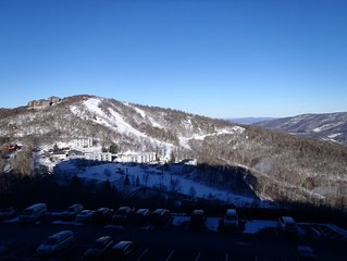 Magnificient view of ski slopes including indoor pool/jacuzzi