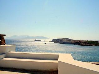 Luxurious seafront stone villa, sea views, sunset