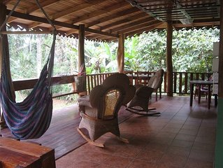 Jungle Beachfront House, WiFi, Large Covered Deck  2 1/2 Acres, Near Village