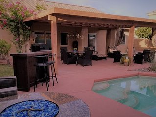 Steps to Coachella/Stagecoach pickup! Large Private Backyard with Pool & Spa