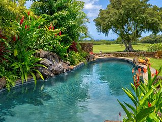 New Oceanview Luxury Home: A/C, Heated Pool on Greenbelt in the Heart of Poipu