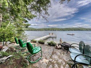 Lakefront house w/ dock, sandy beach, full kitchen, gorgeous views