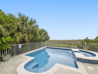 Amazing Ocean & Marsh Views from Private Pool With A Short Walk To The Beach