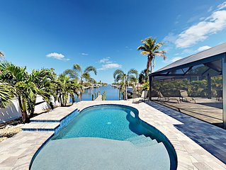Canal-Front 3BR w/ Private Patio, Pool & Dock - Minutes to Beach,  Dining