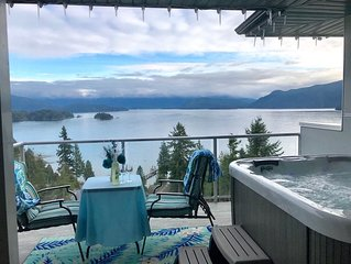 Walk from a ferry terminal to your ocean view suite with a hot tub!