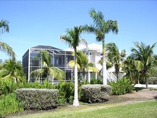 Key West style home. 3 bedroom 2 bath with screened heated pool. Walk to Beach