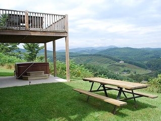 Ridgetop Cabin w/Broad Long Range Views, Hot Tub, River Access, Porch & Deck