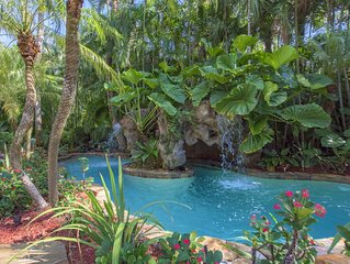 Tropical House with 80' boat dock and waterfall pool on New River