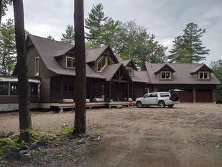 New Luxury Waterfront Log Home 7 Bedrooms, 90 Acres Woodland 600' waterfront