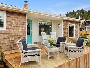 Stylish Cottage w/Backyard Fire Pit, Steps to Beach & Downtown, 5 Star Service