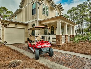 Custom Lakefront Beautiful Home,6 Seater Golf Cart! Walk to beach and pool