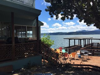 House on Clearlake, on the water with a dock.
