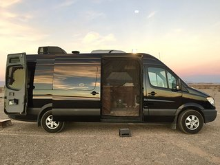 Luxury Limo Adventure Sprinter for unique Joshua Tree 'Glamping' experience.