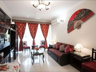 This is a  fully air conditioned and furnished two bedroom apartment in Candolim