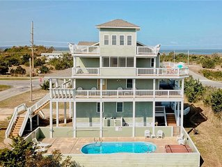 SEA-Esta Oceanside in Salvo w/Pool&HotTub, RecRoom, PetFriendly