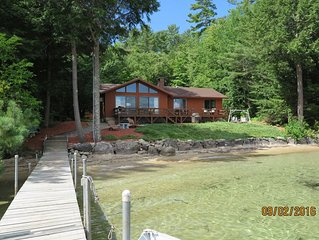 Beautiful Winnipesaukee Veasey Shore, Mountain View, Sandy beach, 50 ft dock.