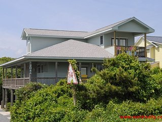 2nd Row Unique Home with Wrap-Around Porch, Ocean Views, 3 Large Bedroom Suites