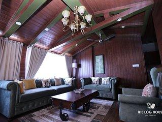 The beautiful  log house