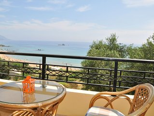 Lidovois comfortable upper floor apartment with great seaview on Pelekas Beach.