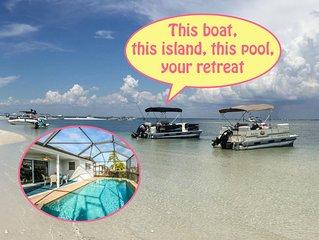 SandbarVacation+Pontoon Boat+Island Beach+Heated Pool