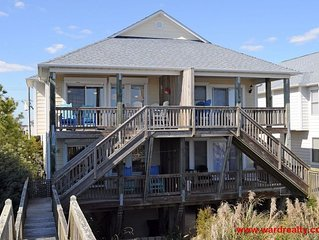 Large 3 BR Oceanfront Duplex with Great Views from Covered Porches