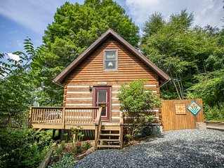 2BR Cabin with Mtn Views, Hot Tub, Fire Pit, Wrap Around Porch, Central Location