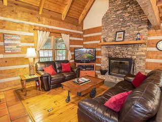 Rustic 3BR Mtn Cabin on Private Wooded Property, Hot Tub, Game Tables, King Suit