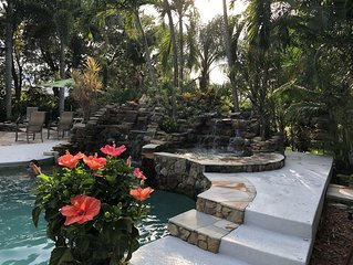 Gorgeous Tropical Home w/ Twin Falls Pool & Spa & 15 min to Beautiful Beaches