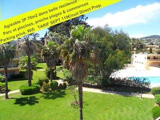 Vacances°°°°Juan Les Pins EUCALYPTUS PARK 3P/70m2 piscines, parc, plage 300m