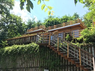 The only in-town lodge in Transylvania, featuring a sundeck, hot tub and sauna