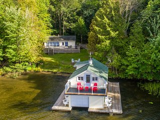 Fly By Rosseau~Sunset view Cottage, boathouse + bunkies on Lake Rosseau