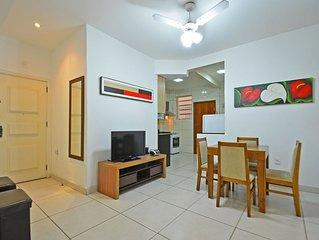 Moderno 2 quartos na quadra da praia em Copa para 6 pessoas!