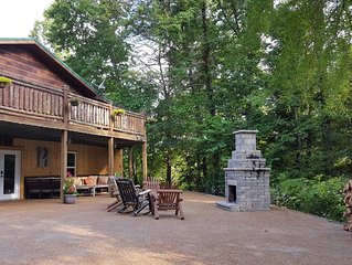 Cabin with fire pit, private pool, new playset & gated....away from it all!!